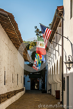Mexican-style Alley, w/flags