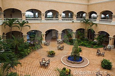 Mexican style hotel lobby