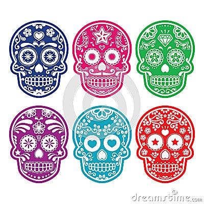 Free Mexican Sugar Skull, Dia De Los Muertos Colorful Icons Set Royalty Free Stock Photos - 39771908