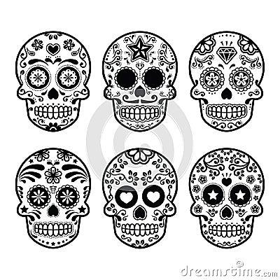 Free Mexican Sugar Skull, Dia De Los Muertos Icons Set Stock Photos - 39206913