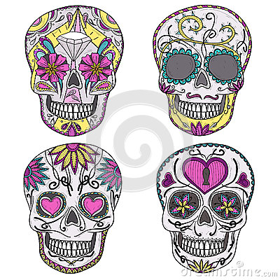 Mexican sugar skull set