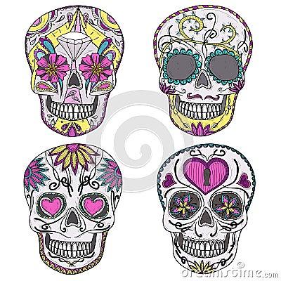 Free Mexican Sugar Skull Set Stock Photo - 27246270