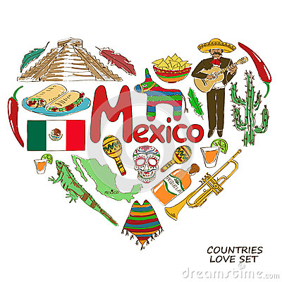 Free Mexican Symbols In Heart Shape Concept Stock Photo - 48125610