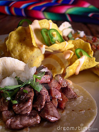Mexican tacos with nachos