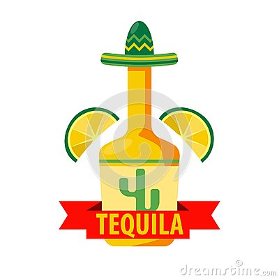 Free Mexican Tequila Bar Vector Icon Template Of Bottle In Sombrero Royalty Free Stock Photos - 86908548