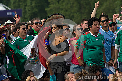 Mexican TV Presenter amongst the Mexico Fans Editorial Photo