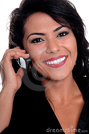 Mexican Woman On Cell Phone