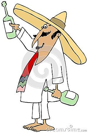 Mexicano descalzo que hace una tostada