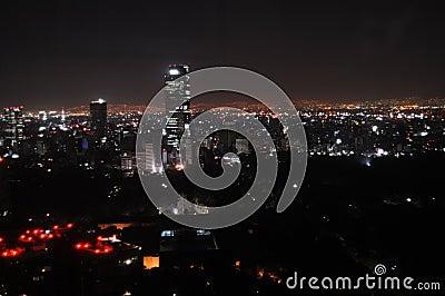 Mexico City at night Stock Photo