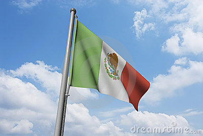 Mexico Flag with Clouds