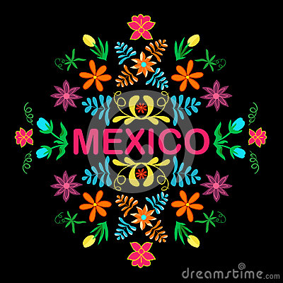 Free Mexico Flowers, Pattern And Elements. Vector. Stock Photography - 79410282