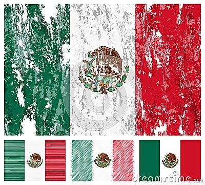 Mexico grunge flag set