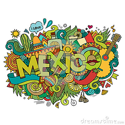 Free Mexico Hand Lettering And Doodles Elements Stock Images - 44226564