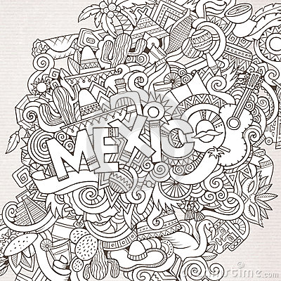 Free Mexico Hand Lettering And Doodles Elements Stock Images - 62841234