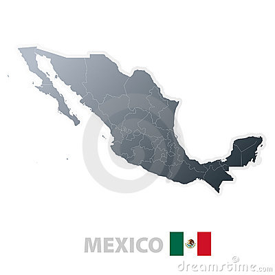 Mexico map with official flag