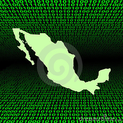 Mexico map over binary code
