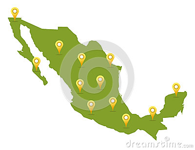 Mexico map with pins