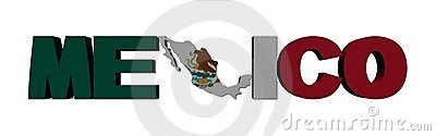 Mexico map text with flag