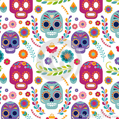Free Mexico Pattern With Skull And Flowers Royalty Free Stock Image - 51681526