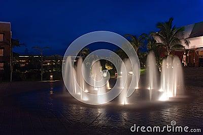 Mexico resort waterworks night