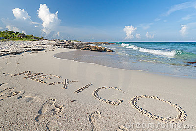 Mexico sign on the sand