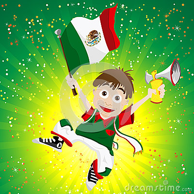 Mexico Sport Fan with Flag and Horn