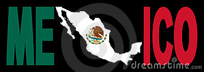 Mexico text with map on flag