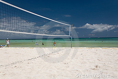 Mexico volleyball on beach net