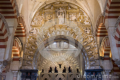 Mezquita cathedral interior in cordoba royalty free stock for Interior mezquita de cordoba