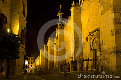 Mezquita of Cordoba at night.