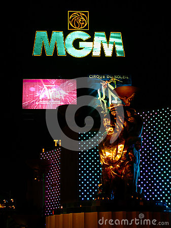 MGM Grand Sign and Lion Editorial Stock Image