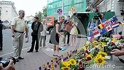 MH17 memorial memorável, embaixada dos Países Baixos (Kiev), video estoque