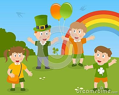 Miúdos de St Patrick s no parque