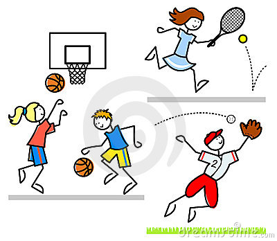 Miúdos dos desenhos animados dos esportes