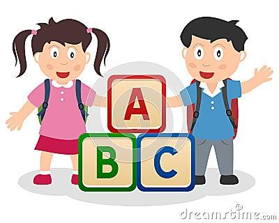 Miúdos que aprendem com blocos de ABC