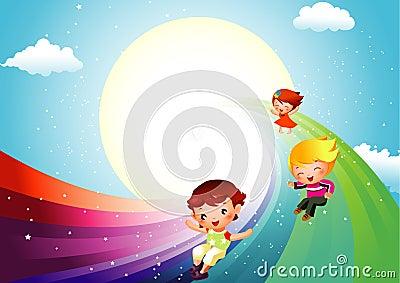 Miúdos que deslizam no arco-íris