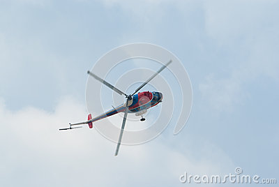 Mi-2 helicopter demonstrates aerobatics Editorial Photo