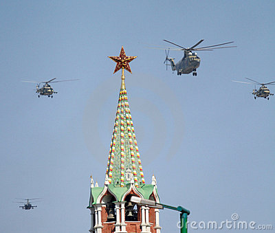 MI-8 multipurpose helicopters fly over Red Square Editorial Image