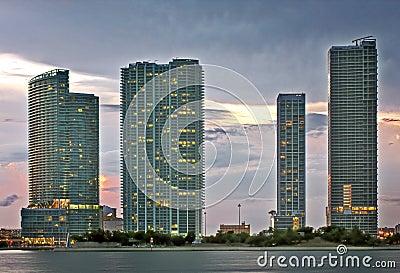 Miami architecture at sunset