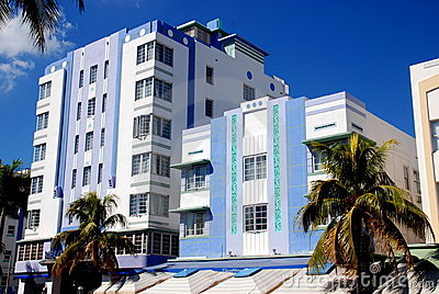 Miami Beach, Florida: Art Deco Hotels Editorial Photography
