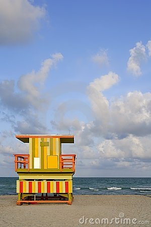 Free Miami Beach Lifeguard Colorful Houses Royalty Free Stock Image - 12582616