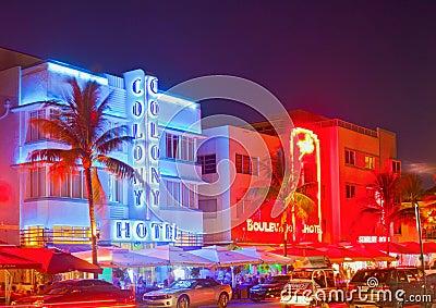 Miami Beach at night Editorial Stock Photo