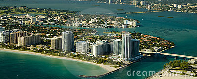 Aerial view of Miami seashore