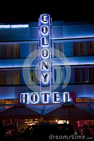 Art Deco Facade of hotel at the Ocean drive in Miami Beach by night Editorial Photography