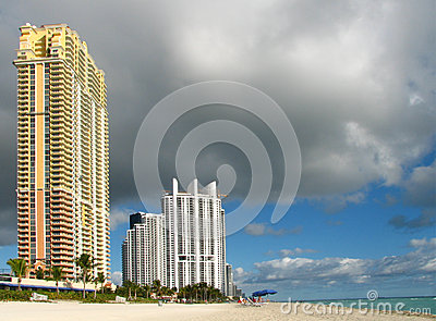 Miami Beach view with cloudy sky