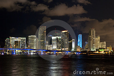 Miami city night skyline