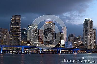 Miami city skyline at dusk.