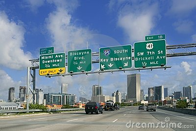 Miami Downtown Florida road signs