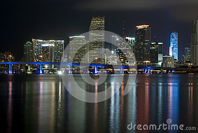 Miami Florida Waterfront at Night