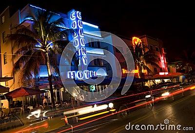 miami hotel night scene ocean drive  Editorial Photo